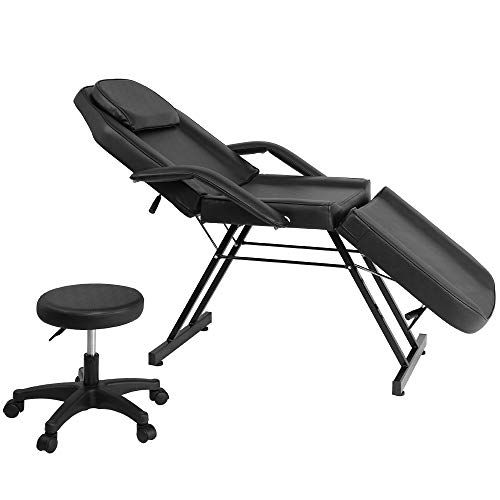 EZAuto Adjustable Black Beauty Salon Bed Spa Massage Tattoo Folding Table Chair Facial with Portable Equipment Barber Stool Parlor