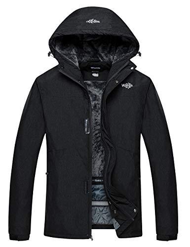 Wantdo Men's Skiing Fleece Jacket Hooded Mountain Rainwear Winter Coat Black M