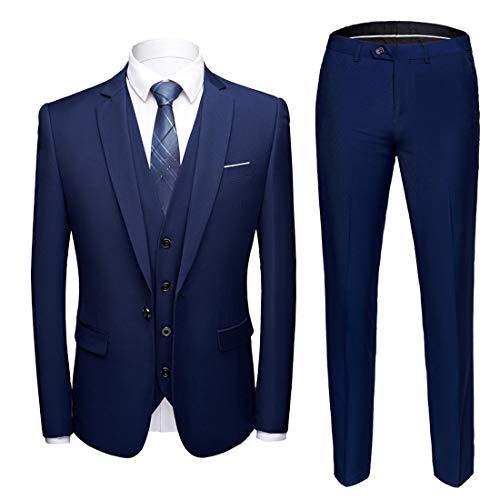 MY'S Men's Suit Slim Fit One Button 3 Piece Suit Blazer Dress Business Wedding Party Jacket Vest & Pants Deep Blue,M, 5'9 6'1, 160 175lbs