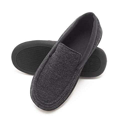 Hanes Mens Slippers House Shoes Moccasin Comfort Memory Foam Indoor Outdoor Fresh IQ,Dark Black,Large