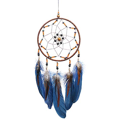MoonFly Dream Catcher Handmade Traditional Feather Dreamcatcher Hanging Home Wall Decoration Craft Ornament for Home, Bedroom, Kids, Boys Native American Style Décor (Star)