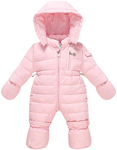 WESIDOM Newborn Baby Toddler Girls Boys Snowsuit Hooded Winter Romper Jumpsuit Coat Pink