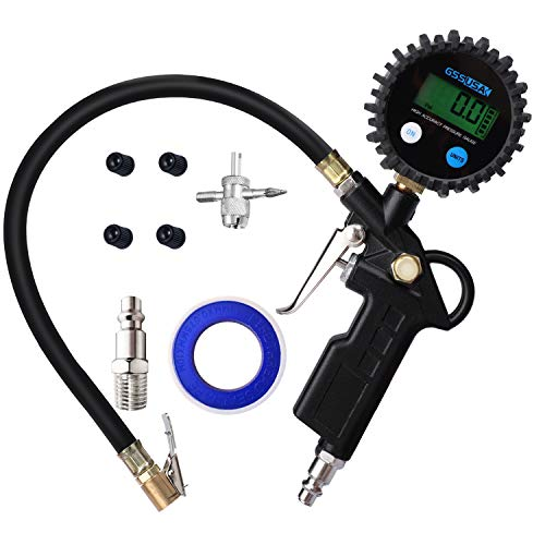 GSSUSA Digital Tire Inflator Pressure Gauge 200 PSI Accuracy Display Heavy Duty Tire Gauge Air Compressor Accessories Air Chuck with Long Rubber Hose and Quick Coupler for Car, Truck, Bike, Auto