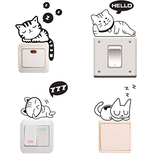 Removable Switch Sticker, 4 Pcs Cute Black Sleeping Cats Cartoon Wall Sticker, Light Switch Decor Decals, Family DIY Decor Art Car Stickers Home Decor Wall Art for Kids Living Room Office Decoration