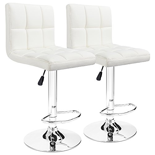 Furmax Bar Stools Modern Pu Leather Swivel Adjustable Hydraulic Bar Stool Square Counter Height Stool Set of 2(White)