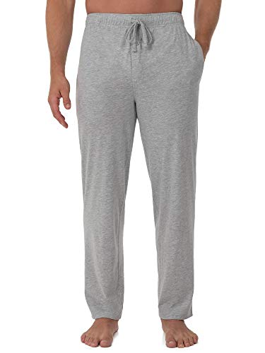 Fruit of the Loom Men's Extended Sizes Jersey Knit Sleep Pant (1-Pack), Light Grey Heather, Small