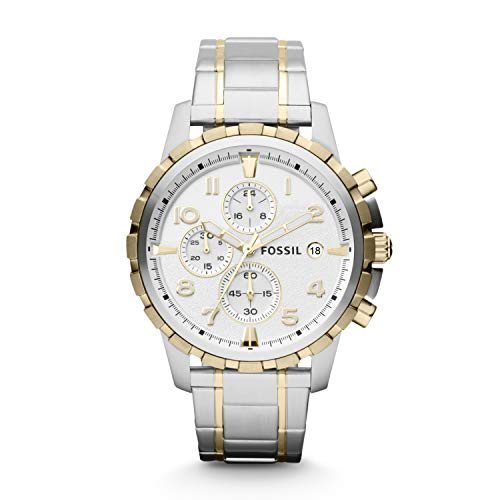 Fossil Men's Dean Quartz Two-Tone Stainless Steel Chronograph Watch Silver, Gold (Model: FS4795)