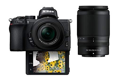 Nikon Z50 Compact Mirrorless Digital Camera with Flip Under Selfie/Vlogger LCD | 2 Zoom Lens Kit Includes: NIKKOR Z DX 16-50mm f/3.5-6.3 VR & NIKKOR Z DX 50-250mm F/4.5-6.3 VR