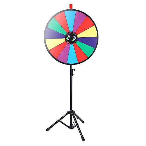 WinSpin 24' Color Prize Wheel Fortune w Folding Tripod Floor Stand Carnival Spinnig Game