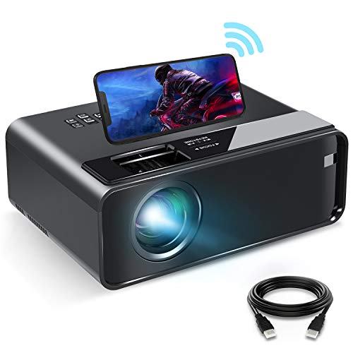 Mini Projector for iPhone, ELEPHAS 2020 WiFi Movie Projector with Synchronize Smartphone Screen, 1080P HD Portable Projector with 4600 Lux and 200' Screen, Compatible with Android/iOS/HDMI/USB/SD/VGA