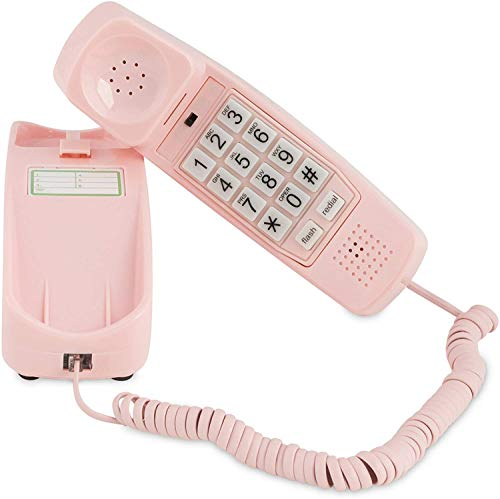 Trimline Corded Phone - Phones for Seniors - Phone for Hearing impaired - Ladies Pink - Retro Novelty Telephone - an Improved Version of The Princess Phones in 1965 - Style Big Button
