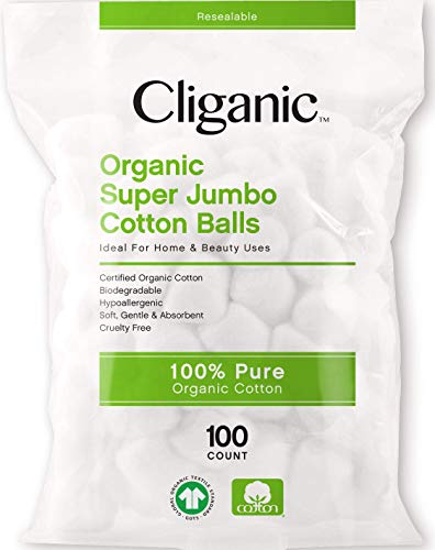 Cliganic Organic SUPER JUMBO Cotton Balls (100 Count) - Biodegradable, Hypoallergenic, Absorbent, Large Size, 100% Pure