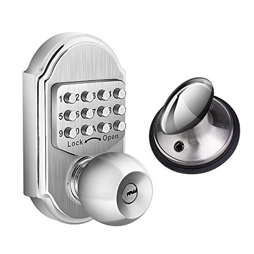 Elemake Keyless Entry Door Lock Deadbolt Keypad Mechanical Stainless Steel (Pass Code + Key, Higher Security)