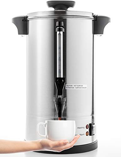 SYBO RCM016S-8B Commercial Grade Stainless Steel Percolate Coffee Maker Hot Water Urn 40-Cup Capacity for Catering, 8 Liter, Metallic