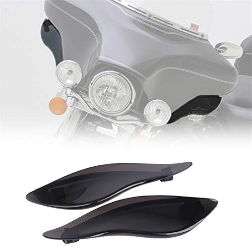 KIWI MASTER New 2 Pcs Adjustable Air Deflectors Side Wings Windshield Fairing Side Cover Shield Compatible for 2014-2020 Harley Davidson Touring Electra/Street/Tri Glide CVO,Dark Smoke Finish