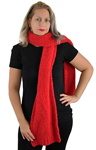 Barefoot Dreams CozyChic Scarf, Ribbed Hem, 100% Polyester Microfiber, Comfortable Winter Gear, Cold Weather Essential-Exclusive Red Color