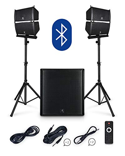 PRORECK Club 4000 18-inch 4000W P.M.P.O Stereo DJ/Powered PA Speaker System Combo Set Line Array Speaker and 18 inch Active Sub with Bluetooth/USB/SD Card/Remote Control