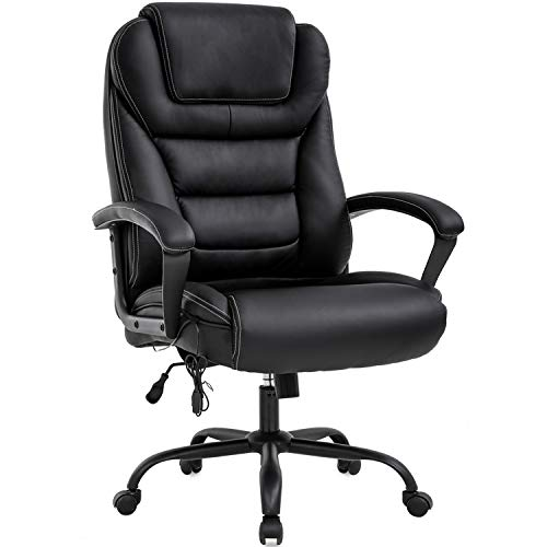 Big and Tall Office Chair 500lbs Wide Seat Ergonomic Desk Chair with Lumbar Support Arms High Back PU Leather Executive Task Computer Chair for Heavy People Women,Black