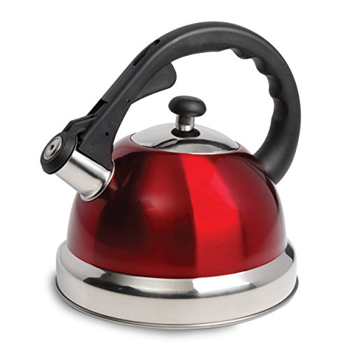 Mr Coffee Claredale Aluminum Whistling Tea Kettle, 2.2 Quarts, Red