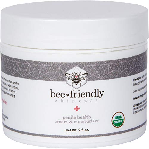 Organic Penile Health Cream by BeeFriendly, USDA Certified Natural Penis Cream Moisturizer Aids with Dry, Chafing, Scaly, Cracked, Red, Itchy & Irritated Skin, Enhances Sensitivity Naturally 2 oz