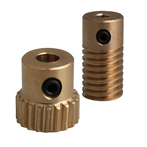 CNBTR 0.5 Modulus Light Weight Brass Worm Reducer 20T Wore Gear Wheel + 3.175mm Bore Worm Gear Shaft