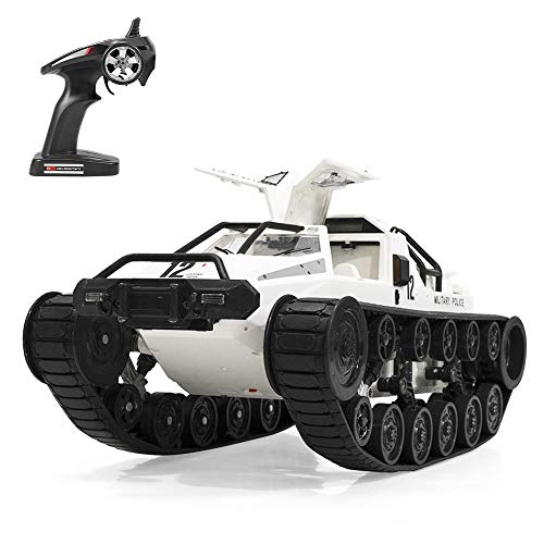 GoolRC RC Tank Car, 1/12 Scale 2.4GHz Remote Control Rechargeable Tank for Kids, 360° Rotating Vehicle Gifts for Boys Girls Teens (White)