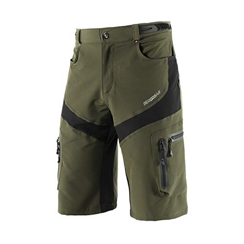 BERGRISAR Men's Cycling Shorts MTB Mountain Bike Bicycle Shorts Zipper Pockets 1806BG Army Green Size Medium