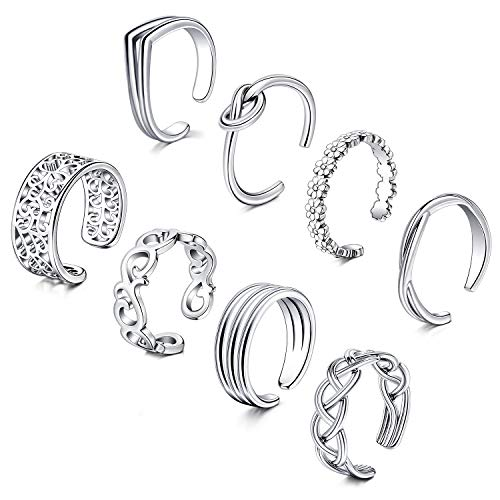 D.Bella Adjustable Toe Rings for Women Summer Beach Rose Gold Silver Hypoallergenic Open Toe Ring Set Finger Foot Jewelry