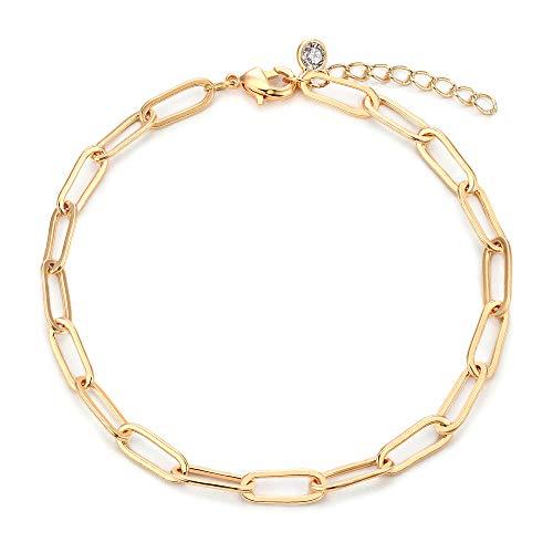 VACRONA Gold Oval Bracelet 14K Gold Plated Italian style Link Chain Bracelets for Women Dainty Handmade Clip Link Bracelet Adjustable Chain Jewelry Gifts for Girls