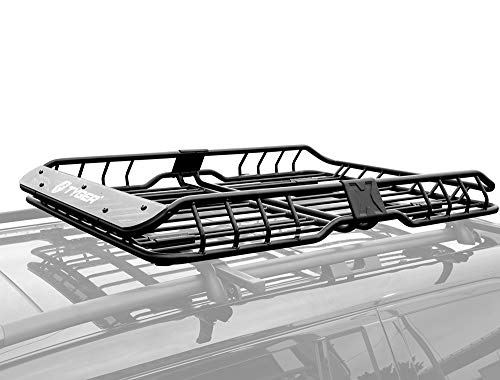 Tyger Auto TG-RK1B942B Heavy Duty Roof Mounted Cargo Basket Rack | L57.5 x W42 x H6 | Roof Top Luggage Carrier | with Wind Fairing