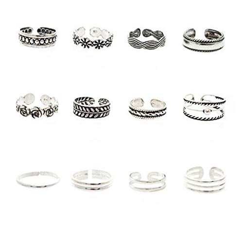 Toe Rings Toe Rings for Women,12pcs Fashion Retro Silver Carved Flower Adjustable Open Toe Ring Finger Foot Jewelry