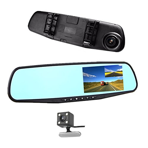 Car DVR Rear view Mirror Video Recroder 4.3' inch Car Camera Dual lens Cam night