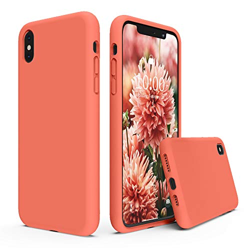 SURPHY Silicone Case Compatible with iPhone Xs Max Case 6.5 inches, Soft Liquid Silicone Shockproof Phone Case (with Microfiber Lining) Compatible with Xs Max (2018) 6.5 inches (Nectarine)