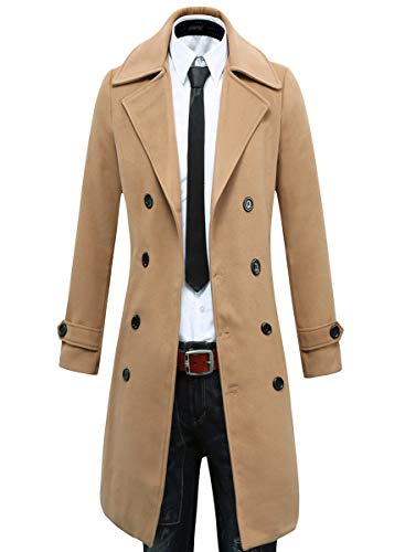 Beninos Men's Trench Coat Winter Long Jacket Double Breasted Overcoat (5625 Camel, US:M/Asia XL)