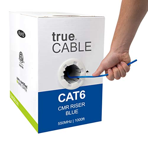 trueCABLE Cat6 Riser (CMR), 1000ft, Blue, 23AWG 4 Pair Solid Bare Copper, 550MHz, ETL Listed, Unshielded Twisted Pair (UTP), Bulk Ethernet Cable