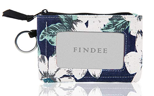 Iconic Zip ID Case Wallet/Coin Purse with Id Window - Signature Cotton (Blue flower Pattern)