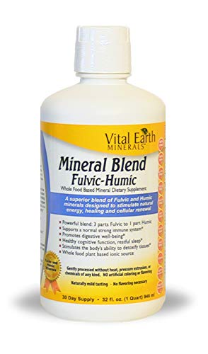 Vital Earth Minerals Mineral Blend Fulvic-Humic -32 Fl. Oz. - 1 Month Supply - Vegan Liquid Ionic Trace Mineral Multimineral Supplement - Almost Tasteless - Whole Food Plant-Based Ionic Minerals
