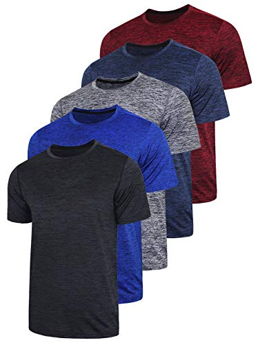 5 Pack Men's Active Quick Dry Crew Neck T Shirts - Athletic Running Gym Workout Short Sleeve Tee Tops Bulk (Edition 1, Small)