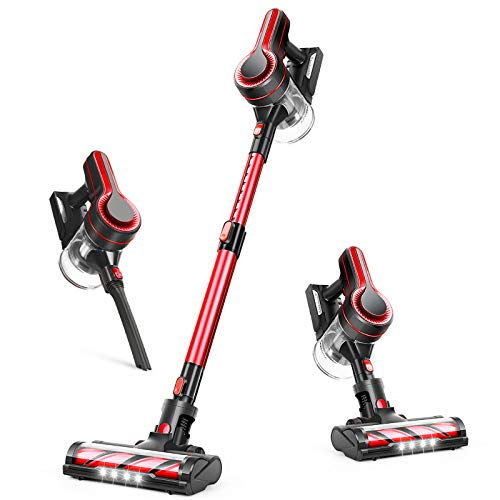 APOSEN Cordless Vacuum Cleaner, 24000Pa Strong Suction, 4 in 1 Stick Vacuum Cleaner Detachable Battery, 250W Powerful Brushless Motor, 1.2L Super-Capacity for Deep Cleaning H250 (Red)