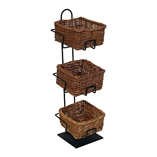 Mobile Merchandisers CR0620-3B-MB 3-Tier 3 Square Willow Basket Counter Display Rack,Brown