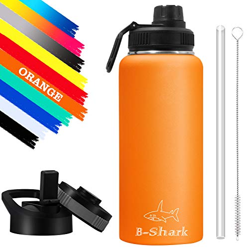 Water Bottle - 32 Oz Water Bottle with Straw, Double Wall Vacuum Stainless Steel Water Bottle with 3 Option Lid Keeps Hot or Cold, Leak Proof Sports Water Bottle for Camping Travel, Office and Outdoor