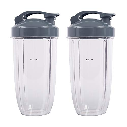 Nutribullet Replacement Parts, 32OZ Cup with Flip Top To Go Lid, Compatible with Nutribullet 600W 900W Blenders (2 Pack)