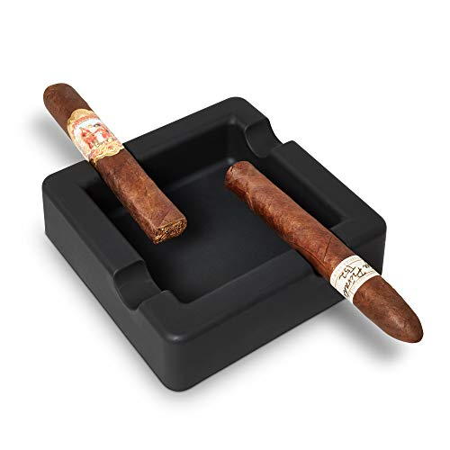 FairleeCove Cigar Ashtray Large Gauge Cigars - Wide Shelf - Deep Bowl - Unbreakable – Firm Flexible Silicone Indoor Outdoor Cigar Cigarette Ashtrays for Patio Pool Restaurant (Black)
