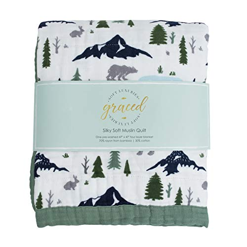 GRACED SOFT LUXURIES Softest Large 4-Layer Bamboo Muslin Quilt, 47' x 47' Bamboo + Cotton Blanket, Bear's Forest