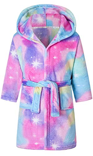Girl's Robe Colorful Galaxy Tie Dye Printed Hooded Bathrobes Sleepwear with Belt and Pockets, Pink Blue, 12-13 Years = Tag 180