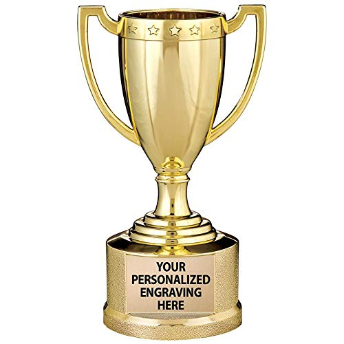 Gold Trophy Cup, 5 1/2' Shiny Gold Award Trophy Cups, Great for Custom Trophy Keepsake, Free Engraving, 1 Pack Prime