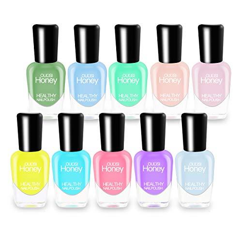 Abitzon NEW Nail Polish Set (10 Bottles) - Non-Toxic Eco-Friendly Easy Peel Off & Quick Dry Water Based Nail Polish
