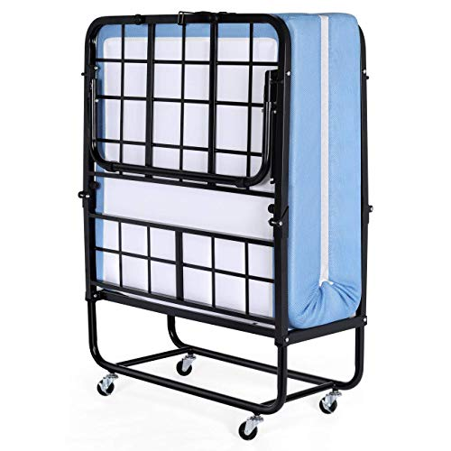 Inofia Foldable Folding Bed, Rollaway Extra Guest Bed with 5 Inch Memory Foam Mattress and Portable Metal Frame on Wheels - Easy Storage - Space Saving - Twin Size - 75 inches x 38 inches