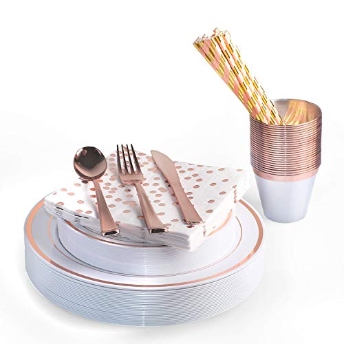 200 Piece Rose Gold Disposable Cutlery Set | Plastic Gold Silverware | Heavyweight Quality Flatware | Includes 25 Forks, Spoons, Knives, 9 Oz Cups, Dinner Plates, Salad Plates, Napkins + Straws
