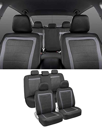 BDK FreshMesh Car Seat Covers, Full Set (Gray Accent) – Front and Back Seat Cover Set with Modern Sideless Design, Universal Fit for Car Truck Van and SUVs